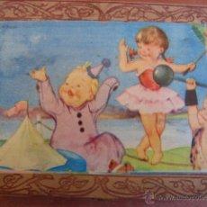 Juguetes antiguos y Juegos de colección: CAJA COSTURERO CON TAMBOR CON ILUSTRACIÓN DE NIÑOS EN CIRCO. Lote 42165039