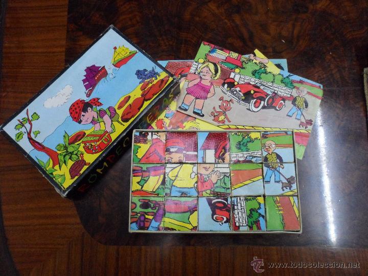 ROMPECABEZAS PUZZLE DE CUBOS DE JUGUETES CARNEADO AÑOS 70 (Juguetes - Varios)