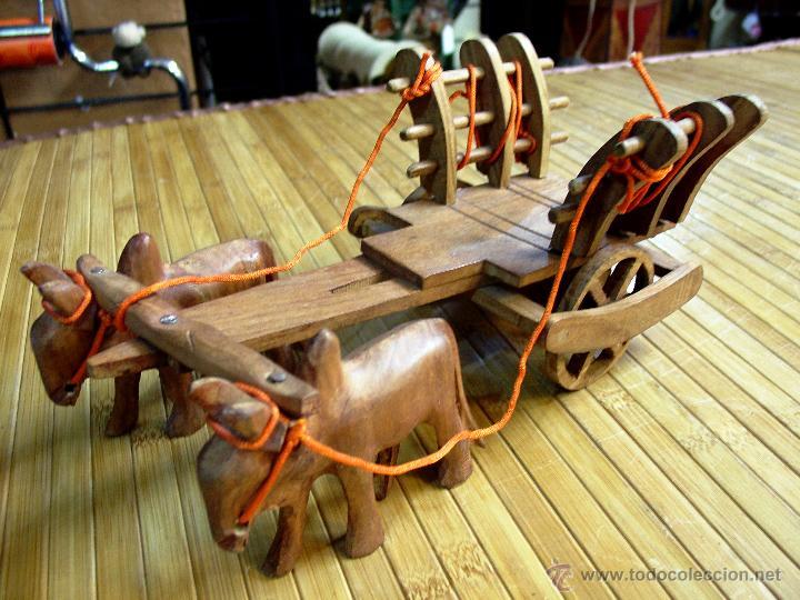 Juguetes antiguos y Juegos de colección: ARTESANAL CARRETILLA Y BUEYES EN MADERA - Foto 3 - 42684344