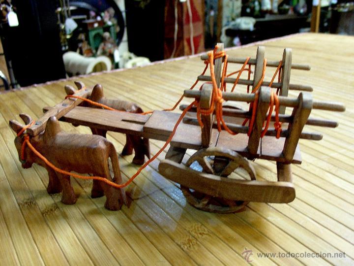 Juguetes antiguos y Juegos de colección: ARTESANAL CARRETILLA Y BUEYES EN MADERA - Foto 4 - 42684344