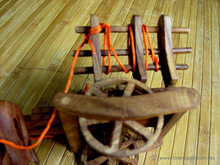 Juguetes antiguos y Juegos de colección: ARTESANAL CARRETILLA Y BUEYES EN MADERA - Foto 7 - 42684344