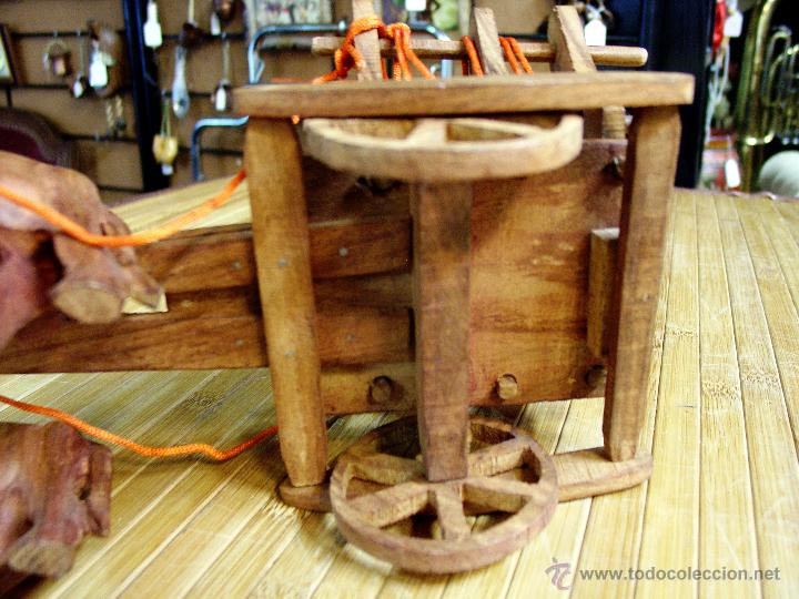 Juguetes antiguos y Juegos de colección: ARTESANAL CARRETILLA Y BUEYES EN MADERA - Foto 9 - 42684344