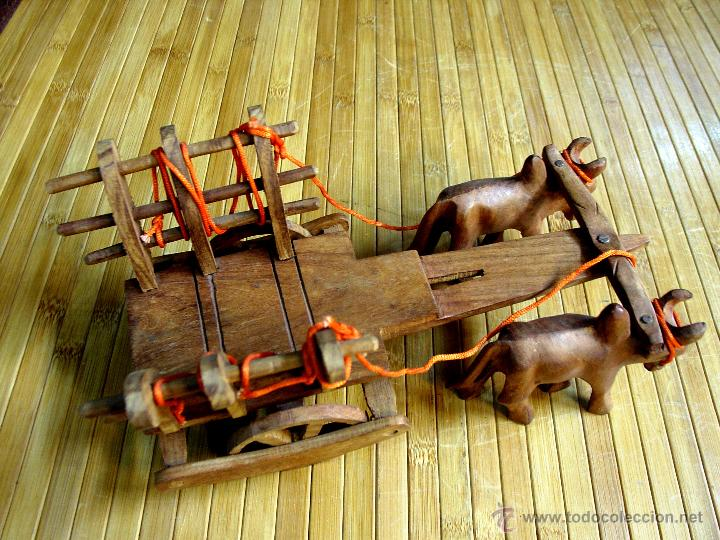Juguetes antiguos y Juegos de colección: ARTESANAL CARRETILLA Y BUEYES EN MADERA - Foto 11 - 42684344