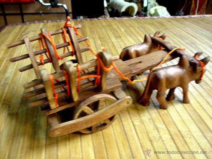 Juguetes antiguos y Juegos de colección: ARTESANAL CARRETILLA Y BUEYES EN MADERA - Foto 12 - 42684344