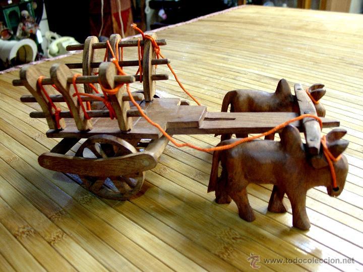 Juguetes antiguos y Juegos de colección: ARTESANAL CARRETILLA Y BUEYES EN MADERA - Foto 13 - 42684344