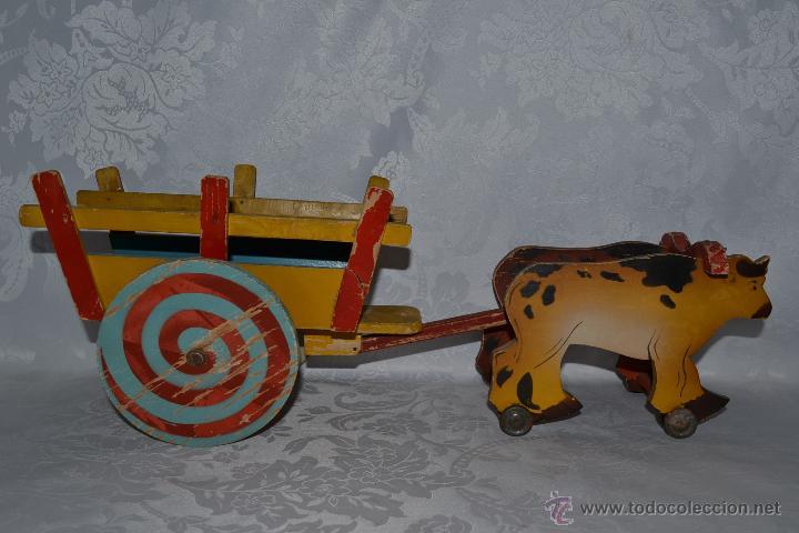 Bonito Juguete Antiguo Carro Tirado Por Yunta Vendido En Venta