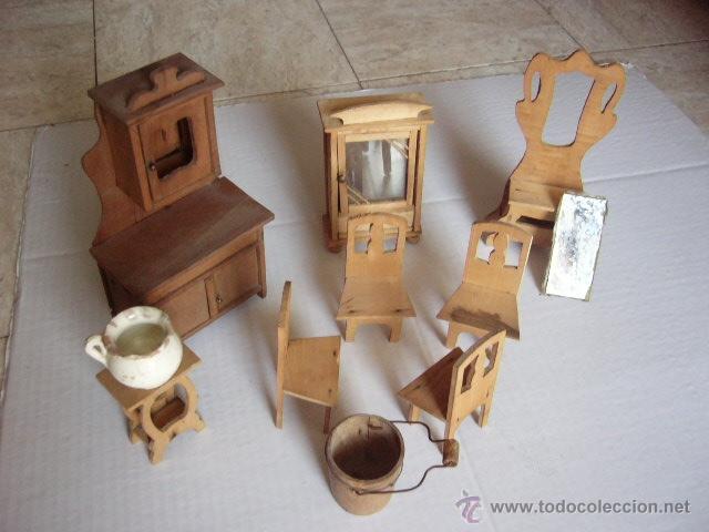 Lote de accesorios en madera para casa de mu ec comprar - Juguetes antiguos de madera ...