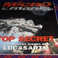Juguetes antiguos y Juegos de colección: REVISTA MICROMANÍA SUPLEMENTO ESPECIAL TOP SECRET LOS NUEVOS JUEGOS DE LUCASARTS. STAR WARS. RARO. . Lote 44854277