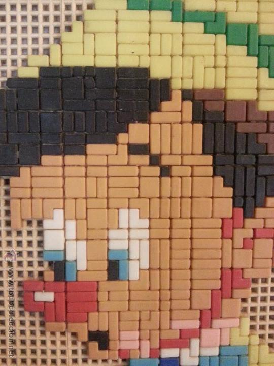 Juguetes antiguos y Juegos de colección: pinocho tipo colorines mosaico 1966 realizado a mano, juego placa para insertar piezas -sobre madera - Foto 3 - 47144107