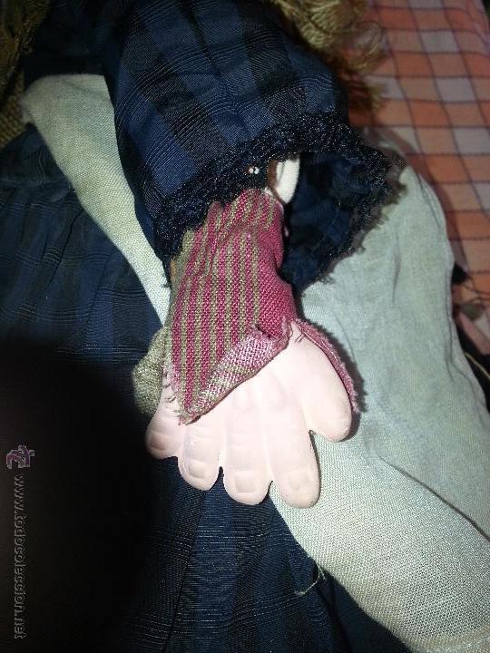 Juguetes antiguos y Juegos de colección: GRAn bruja de trapo cabeza carton y manos de barro gran tamaño medida total 101 cm - Foto 6 - 47182366