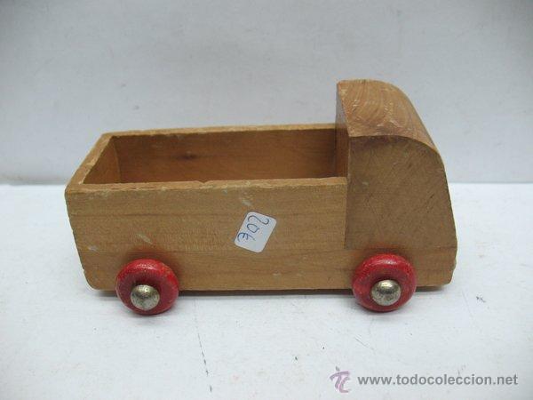Lote de tres juguetes de madera coche cami n y comprar - Juguetes antiguos de madera ...