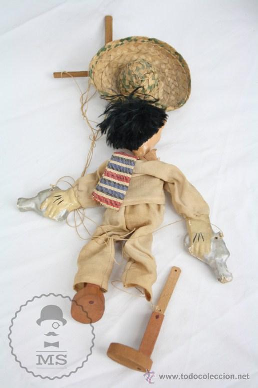 Juguetes antiguos y Juegos de colección: Antigua Marioneta de Cartón Piedra y Madera - Pistolero Mexicano - Restauración - 27 Cm Altura - Foto 10 - 48569097
