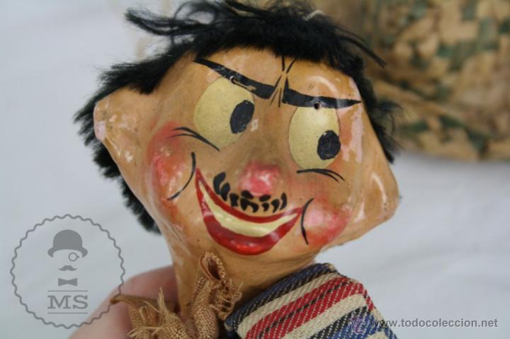 Juguetes antiguos y Juegos de colección: Antigua Marioneta de Cartón Piedra y Madera - Pistolero Mexicano - Restauración - 27 Cm Altura - Foto 12 - 48569097