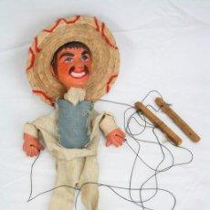 Juguetes antiguos y Juegos de colección: MARIONETA DE CARTÓN PIEDRA Y MADERA - HOMBRE MEXICANO - RESTAURACIÓN - 39 CM ALTURA. Lote 48569226