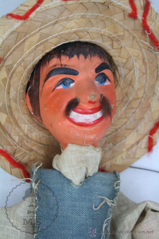 Juguetes antiguos y Juegos de colección: Marioneta de Cartón Piedra y Madera - Hombre Mexicano - Restauración - 39 Cm Altura - Foto 2 - 48569226