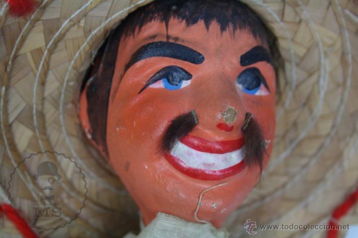 Juguetes antiguos y Juegos de colección: Marioneta de Cartón Piedra y Madera - Hombre Mexicano - Restauración - 39 Cm Altura - Foto 3 - 48569226