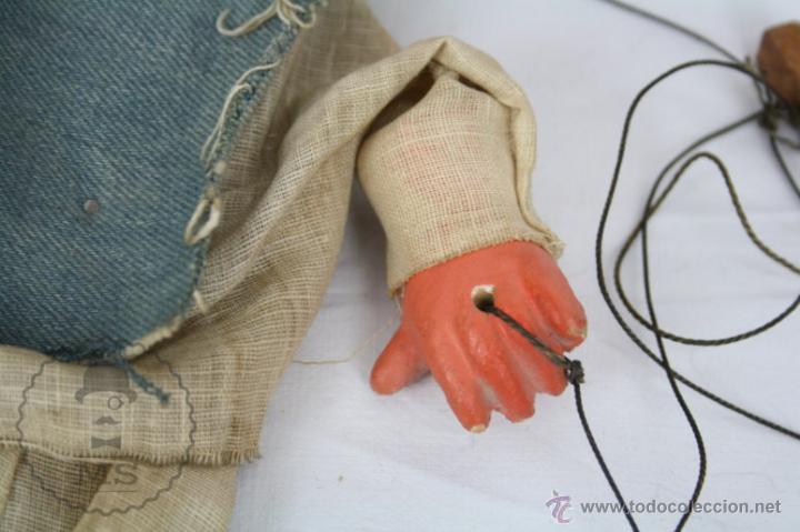 Juguetes antiguos y Juegos de colección: Marioneta de Cartón Piedra y Madera - Hombre Mexicano - Restauración - 39 Cm Altura - Foto 4 - 48569226