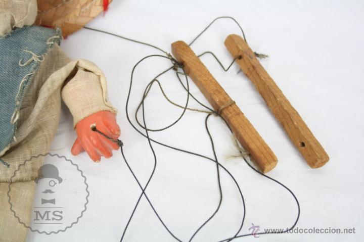 Juguetes antiguos y Juegos de colección: Marioneta de Cartón Piedra y Madera - Hombre Mexicano - Restauración - 39 Cm Altura - Foto 6 - 48569226