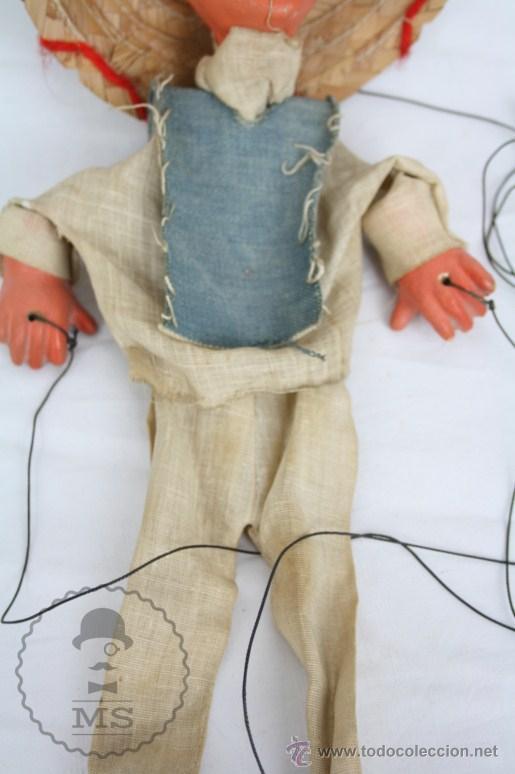 Juguetes antiguos y Juegos de colección: Marioneta de Cartón Piedra y Madera - Hombre Mexicano - Restauración - 39 Cm Altura - Foto 7 - 48569226