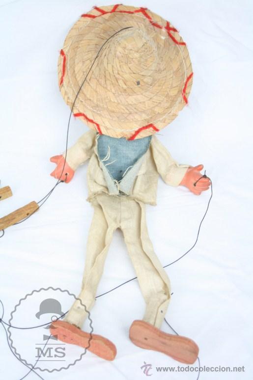 Juguetes antiguos y Juegos de colección: Marioneta de Cartón Piedra y Madera - Hombre Mexicano - Restauración - 39 Cm Altura - Foto 8 - 48569226