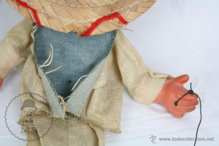 Juguetes antiguos y Juegos de colección: Marioneta de Cartón Piedra y Madera - Hombre Mexicano - Restauración - 39 Cm Altura - Foto 9 - 48569226
