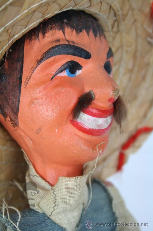 Juguetes antiguos y Juegos de colección: Marioneta de Cartón Piedra y Madera - Hombre Mexicano - Restauración - 39 Cm Altura - Foto 10 - 48569226