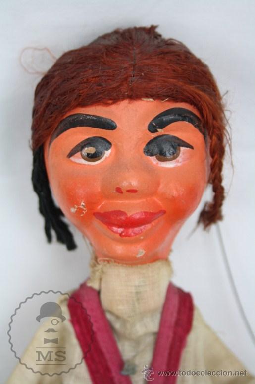 Juguetes antiguos y Juegos de colección: Marioneta de Cartón Piedra y Madera - Mujer Mexicana - Medidas 39 Cm Altura - Foto 2 - 48569357