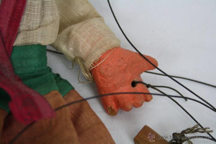 Juguetes antiguos y Juegos de colección: Marioneta de Cartón Piedra y Madera - Mujer Mexicana - Medidas 39 Cm Altura - Foto 3 - 48569357