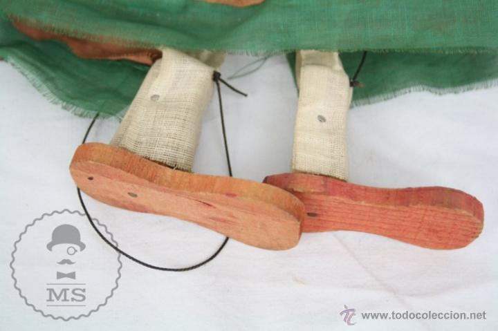 Juguetes antiguos y Juegos de colección: Marioneta de Cartón Piedra y Madera - Mujer Mexicana - Medidas 39 Cm Altura - Foto 4 - 48569357