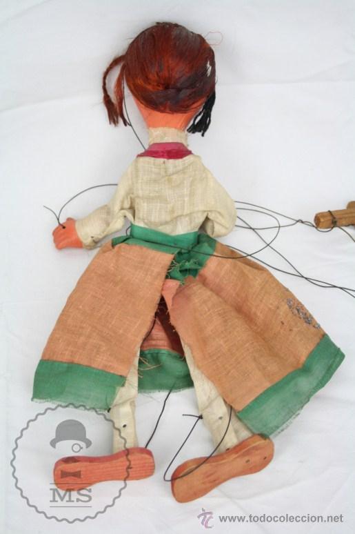Juguetes antiguos y Juegos de colección: Marioneta de Cartón Piedra y Madera - Mujer Mexicana - Medidas 39 Cm Altura - Foto 7 - 48569357