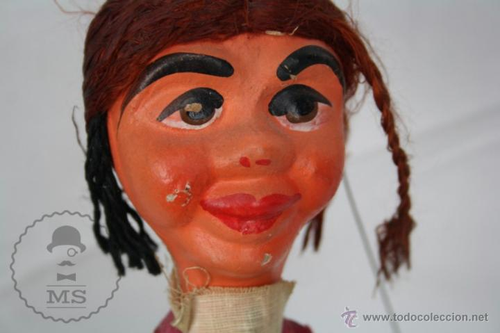 Juguetes antiguos y Juegos de colección: Marioneta de Cartón Piedra y Madera - Mujer Mexicana - Medidas 39 Cm Altura - Foto 10 - 48569357