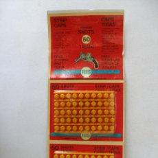 Juguetes antiguos y Juegos de colección: 100 TIROS RIS PARA PISTOLAS DE JUGUETE , DOS PAQUETES PISTONES , FULMINANTES - AÑOS 70. Lote 140202940