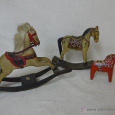 Juguetes antiguos y Juegos de colección: LOTE DE 3 CABALLO DE MADERA DE JUGUETE, ANTIGUOS. Lote 51488738