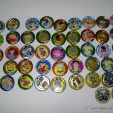 Juguetes antiguos y Juegos de colección: LOTE DE 46 TAZOS RAPPERS METALICOS DE BOLLYCAO.. Lote 54135557