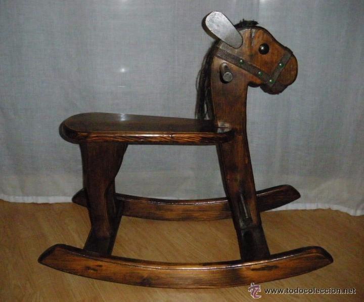 antiguo caballo de madera balancin juguete para nio original aos