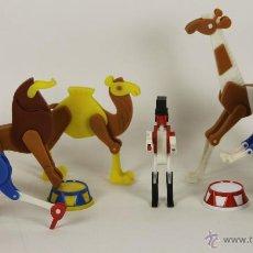 Juguetes antiguos y Juegos de colección: SET DE DOMADOR Y 6 ANIMALES ARTICULADOS EN PLASTICO. 1960.. Lote 54366879