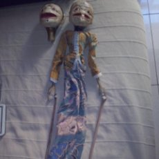 Juguetes antiguos y Juegos de colección - Gran marioneta con dos cabezas intercambiables madera y tela - 54860081
