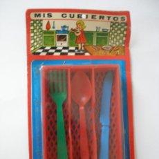 Juguetes antiguos y Juegos de colección: BLISTER CACHARRITOS MIS CUBIERTOS , AÑOS 60 - 70 , CERRADO. Lote 55531142