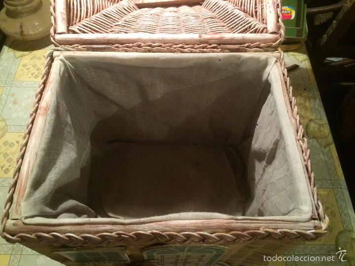 antigua caja / baul / cofre de mimbre infantil, - Comprar en ...