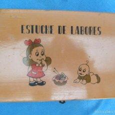 Juguetes antiguos y Juegos de colección: CAJA DE MADERA ESTUCHE DE LABORES O COSTURERO COMPLETO CON TODOS SUS ACCESORIOS, SIN FECHA.. Lote 59438760