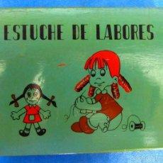 Juguetes antiguos y Juegos de colección: CAJA DE MADERA ESTUCHE DE LABORES O COSTURERO COMPLETO CON TODOS SUS ACCESORIOS, SIN FECHA.. Lote 59439315