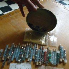 Juguetes antiguos y Juegos de colección: GRAN LOTE DE PURPURINA TUBOS CRISTAL PLASTICO ESTRELLAS ESTRELLITAS ORO POLVO AÑOS 80 BUEN ESTADO . Lote 61885576
