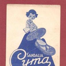 Juguetes antiguos y Juegos de colección: PUBLICIDAD SANDALIA DE GOMA CYMA VALENCIA 21X 15 CM. Lote 67424273