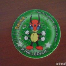 Juguetes antiguos y Juegos de colección: TAZO DE POKEMON DE LA SERIE TAZO STICKKER MARCA MATUTANO # LEDIAN 166. Lote 70472801