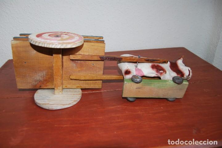 Juguetes antiguos y Juegos de colección: CARRO DE MADERA Y BUEY DE CARTÓN PIEDRA - RUEDAS DE CHAPA - JUGUETE DE ARRASTRE - DENIA - AÑOS 30-40 - Foto 14 - 74678971