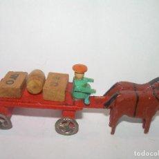 Juguetes antiguos y Juegos de colección: ANTIGUO JUGUETE DE MADERA Y RUEDAS DE PLOMO.. Lote 75760959