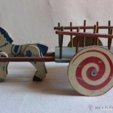 Juguetes antiguos y Juegos de colección: JUGUETE MADERA DE DENIA BURRO CON CARRETA. Lote 80347685