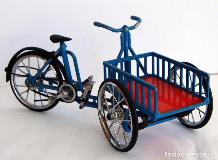 Antigua Bici Va Patentado Azul Con Carro Hecho Comprar En