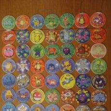 Juguetes antiguos y Juegos de colección: COLECCIÓN COMPLETA TAZOS MATUTANO POKÉMON TAZO 1 CAPS POGS ASH NINTENDO PIKACHU VENCE A TODOS. Lote 99327194