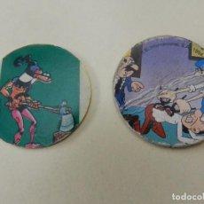 Juguetes antiguos y Juegos de colección: LOTE 2 TAZOS COLECCIÓN MORTADELO Y FILEMÓN RONDOS 27 IBÁÑEZ 1994 TAZOS CAPS POGS VERDUGO. Lote 95939583